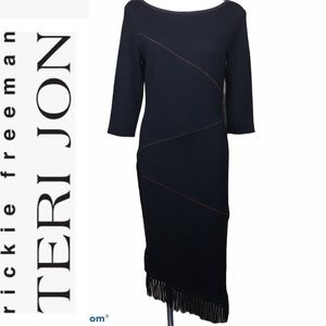 Rickie Freeman  Teri Jon Wool Knit Fringed Dress